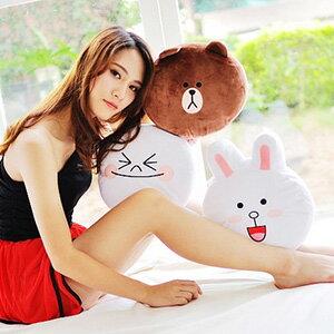 美麗大街~103080521~超夯表情公仔熊大 饅頭人 兔兔 12吋表情大頭抱枕