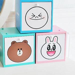 美麗大街【103100805】表情公仔饅頭人 兔兔 熊大大頭印花木製桌上積木單抽收納盒