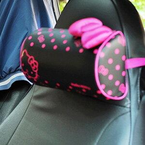 美麗大街【103110311】三麗鷗Hello Kitty酷黑桃紅點點蝴蝶結車用頸靠墊頸枕