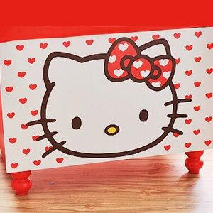 美麗大街【103111113】三麗鷗HELLO KITTY大臉紅愛心有蓋置物玩具收納箱收納椅穿鞋椅凳