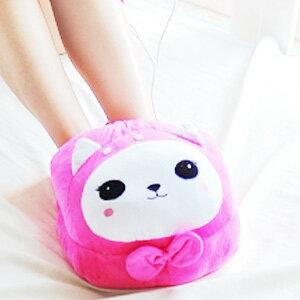 美麗大街【103122419】粉色貓咪卡通系列大頭造型冬季保暖USB室內拖鞋暖腳寶