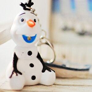 美麗大街【104010114】迪士尼冰雪奇緣雪寶LED燈發聲公仔鑰匙圈