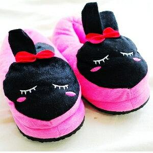 美麗大街【104011805】害羞黑兔子大頭造型桃底冬季保暖室內拖鞋