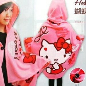 美麗大街【104030105】三麗鷗Hello Kitty蝴蝶結甜心帽毯可扣式刷毛四季毯 懶人毯 冷氣毯 車用毯