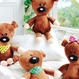 美麗大街【103080507】豆豆先生好朋友泰迪小熊星星領巾蝴蝶結造型18吋公仔玩偶