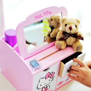 美麗大街~104040712~Hello Kitty 收納鏡面置物盒 桌上收納盒