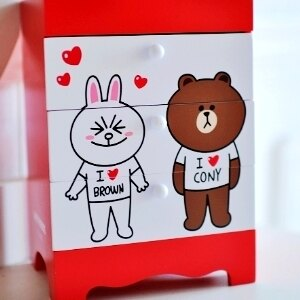 美麗大街【104051710】兔兔 熊大木製桌上三抽收納盒