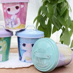美麗大街【BFG07E4E18E1】精靈物語帶蓋馬口鐵小鐵桶茶葉零食收納罐