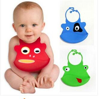 美麗大街【BFL01E4E19】全矽膠嬰兒防水圍兜/口水兜