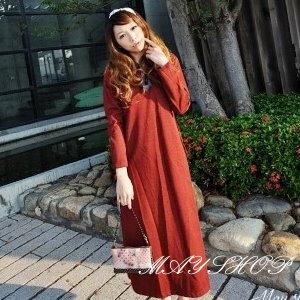 美麗大街【UF010405】甜美條紋幾何娃娃裝/大尺碼洋裝/孕婦裝/長袖洋裝(隨機出貨)