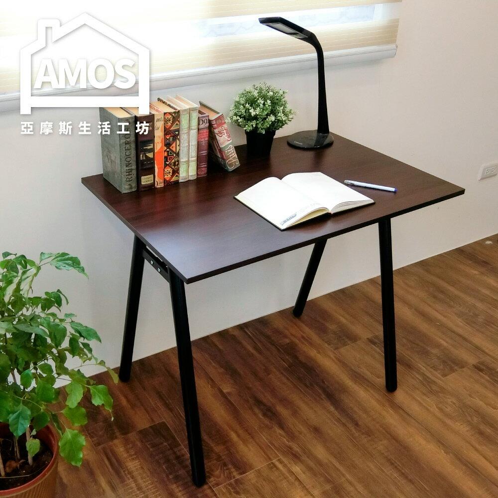 電腦桌/辦公桌/書桌/防水【DCA037DK】環保粗管90公分A型桌面工作桌 Amos