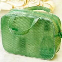 美麗大街【BF029E22】SAFEBET 防水塗層大容量網格化妝包洗漱包 便攜式出差旅行收納包 綠色小貓標(大號 L)