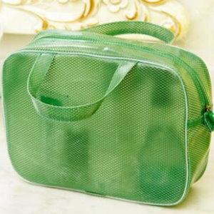 美麗大街【BF029E22】SAFEBET防水塗層大容量網格化妝包洗漱包便攜式出差旅行收納包綠色小貓標(大號L)