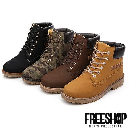 工作靴 Free Shop【QFSZG03】英倫風格迷彩拼接皮質中高筒綁帶休閒馬丁靴登山靴軍靴 四色 情侶款