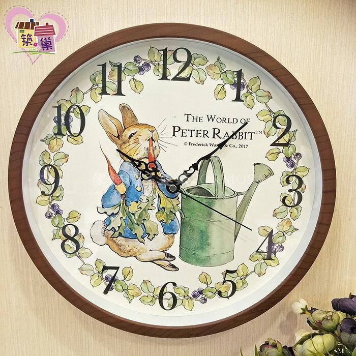 《正版授權》Peter Rabbit 彼得兔吃蘿蔔超靜音時鐘 仿木紋框田園鄉村風牆面掛鐘 客廳房間壁鐘 【築巢傢飾】