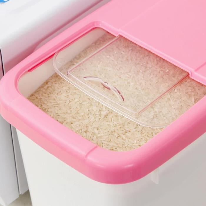 裝米桶-米桶塑料 儲米箱米缸面粉桶防蟲防潮加厚帶蓋20斤 10kg廚房儲物盒