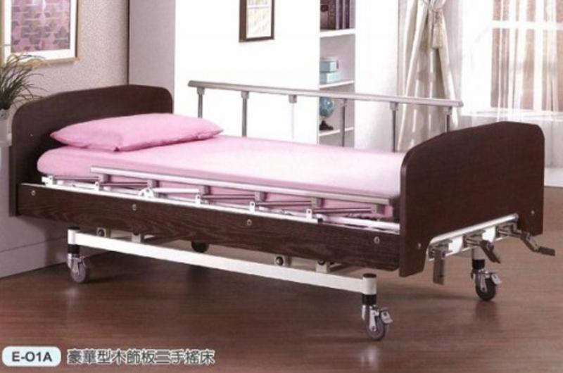【立新】三搖桿手搖床。木飾板標準型