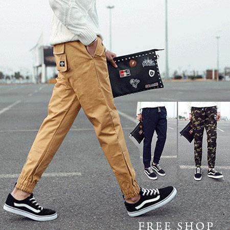 《全店399免運》Free Shop【QTJK33】日系街頭風側口袋壓膠拉鏈英文草寫束口縮口褲工作褲JOGGING PANTS‧迷彩