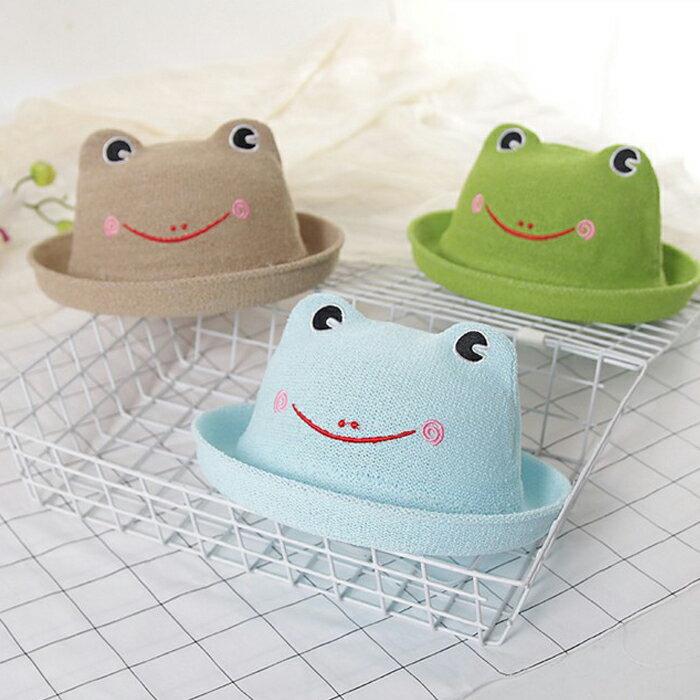 糖衣子輕鬆購【DZ0086-2】韓版可愛出遊卡通青蛙草帽涼帽盆帽童帽