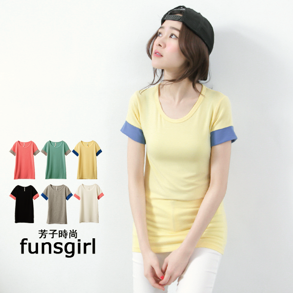 funsgirl芳子 ~B190771~甜美粉嫩袖口撞色圓領棉質短版上衣~6色 現 預