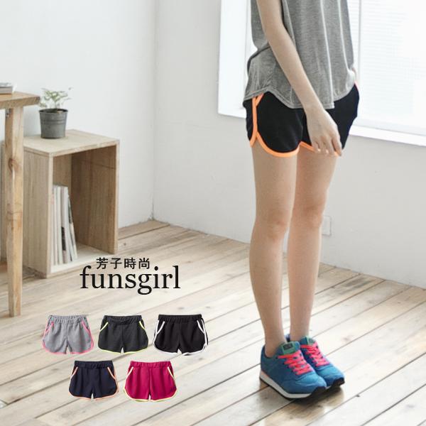 滾螢光邊鬆緊腰帶休閒棉質短褲~5色^~funsgirl芳子 ~B190818~