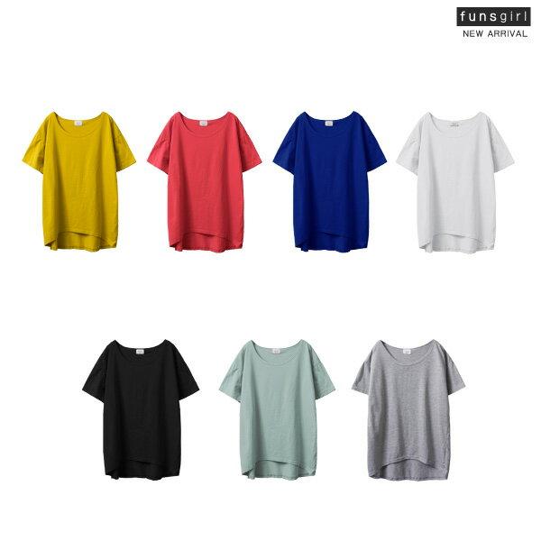 水洗T-素面前短後長短袖上衣-7色~funsgirl芳子時尚【B190904】