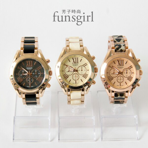 金屬異素材錶帶三眼裝飾機械手錶3色~funsgirl芳子時尚【B230019】