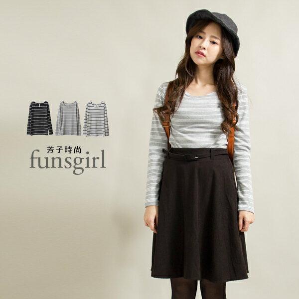 圓領橫條紋長袖上衣-3色~funsgirl芳子時尚【B190978】
