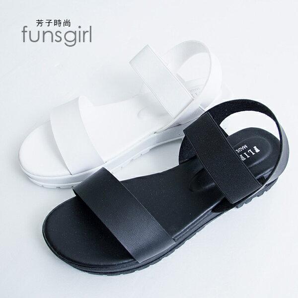 一字厚底涼鞋拖鞋-2色~funsgirl芳子時尚【B150087】