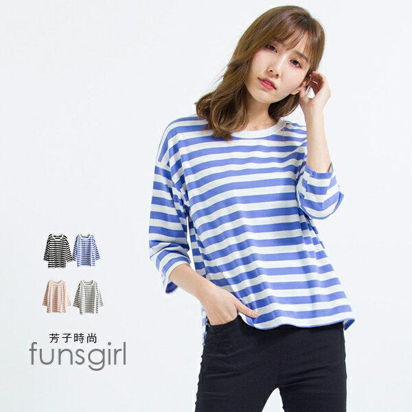 圓領粗條七分袖上衣-4色~funsgirl芳子時尚【B191113】