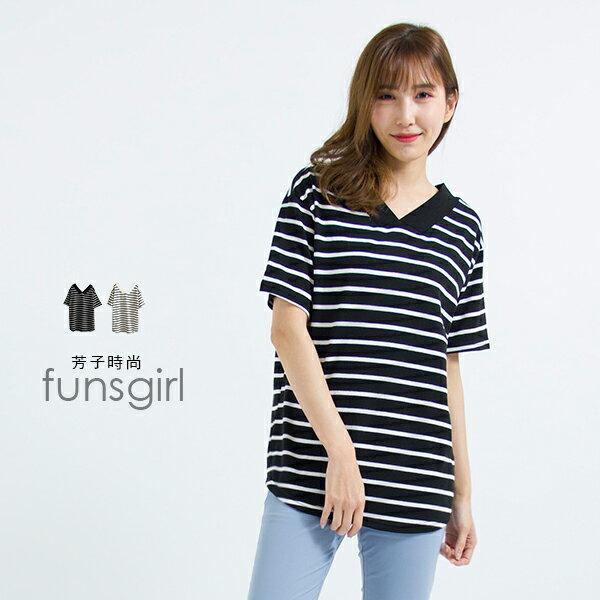 V領寬條U型擺寬衣-2色~funsgirl芳子時尚【B191121】