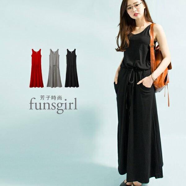 抽繩連身棉質長版洋裝3色~funsgirl芳子時尚【B350017】