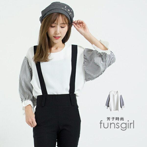 雪紡圓領直紋袖後鈕扣衣~1色funsgirl芳子時尚現+預【B720162】