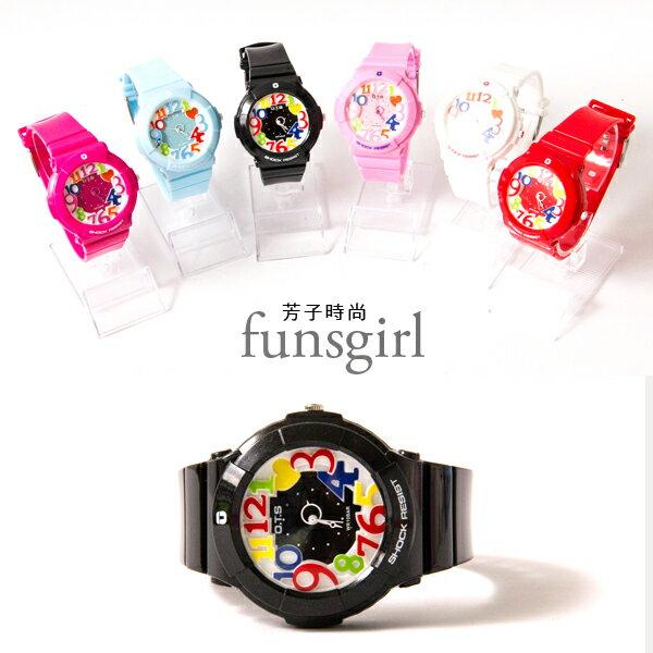 運動型矽膠錶帶彩色數字中性手錶6色~funsgirl芳子時尚【B230023】