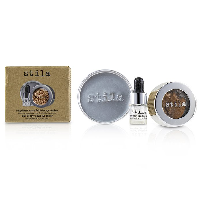 Stila 詩狄娜 金屬色高光眼影 Magnificent Metals Foil Finish Eye Shadow With Mini Stay All Day Liquid Eye Primer - # Comex Copper 2pcs