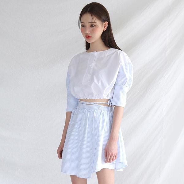 PS Mall 條紋拼接抽繩短版長袖上衣 綁帶高腰假兩件高腰褲裙 兩件式套裝~T1139~