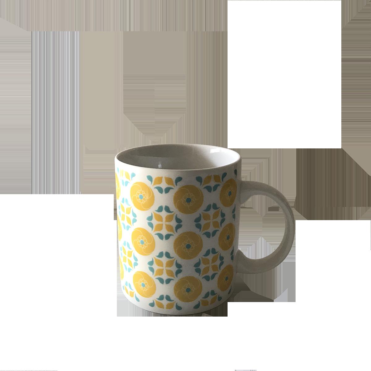 【捲毛力卡】雙花馬克杯  380 ml  | 臺灣文創 花磚 精品 馬克杯  陶瓷馬克杯 水杯 雙花 花磚 東方色彩