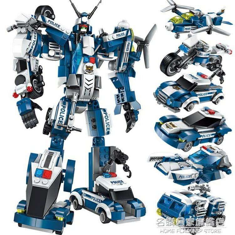 拼裝兒童玩具益智力動腦男孩8歲變形機器人金剛恐龍兼容 樂高積木【】