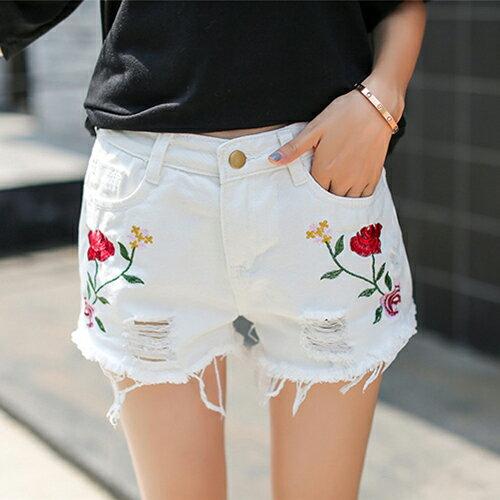 花朵刺繡毛邊高腰牛仔短褲(3色2~XL)*ORead* 1