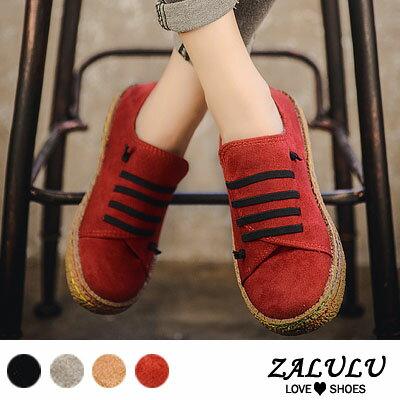 ZALULU愛鞋館ME262預購日系反絨平底大圓頭休閒包鞋-偏小-黑紅灰棕-36-41