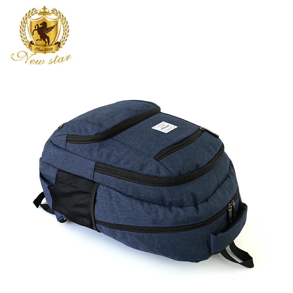 運動輕時尚防水雙層前口袋後背包包 NEW STAR BK237 5