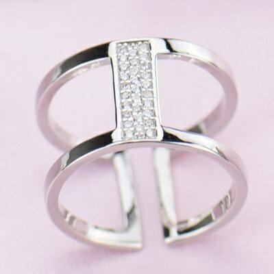 925純銀戒指鑲鑽開口戒-日韓時尚大方個性情人節生日禮物女飾品2色73lz72【獨家進口】【米蘭精品】
