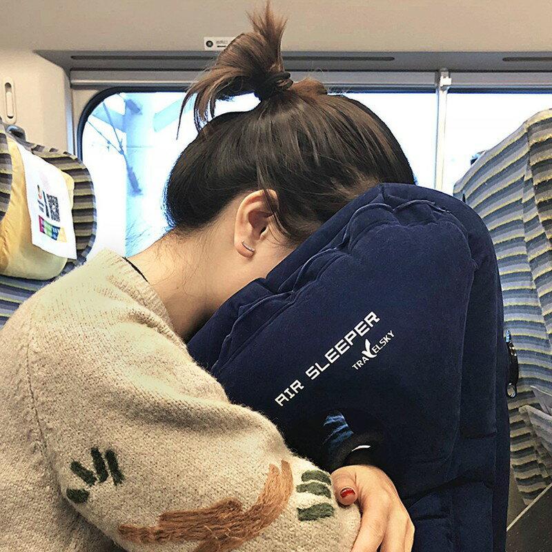 【現貨】充氣枕 折疊充氣枕 長途飛機旅行便攜充氣u型枕 抱枕睡覺神器 旅遊趴睡超舒服