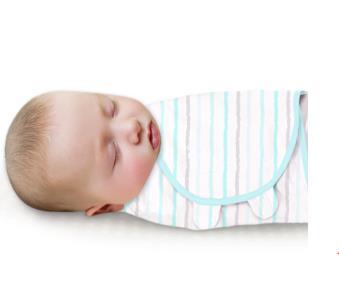 美國Summer Infant 聰明懶人純棉睡袋包巾-藍彩條紋【悅兒園婦幼生活館】