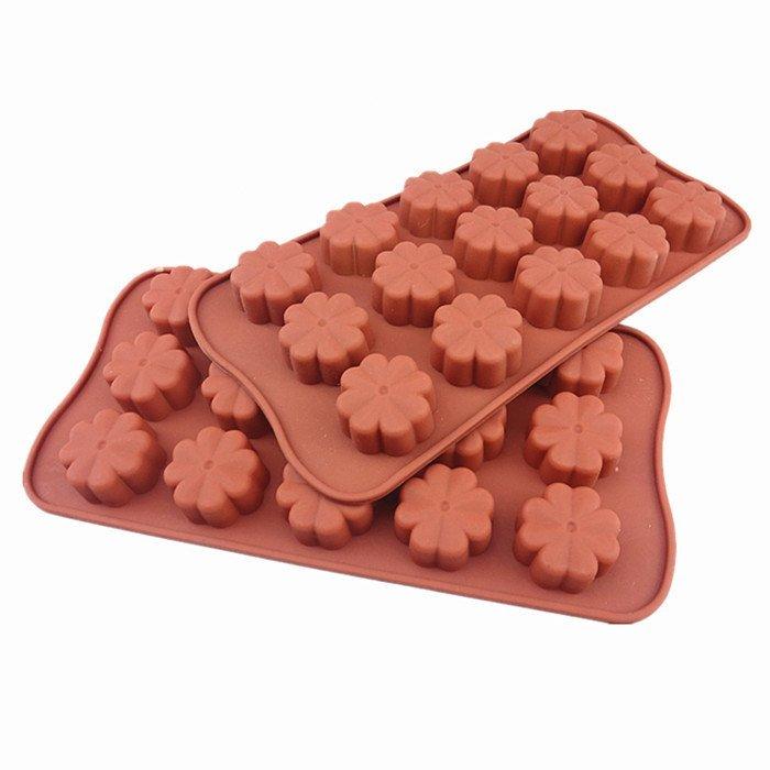 心動小羊^^耐高四葉草矽膠巧克力模、迷你手工皂蠟燭果凍布丁模製冰格