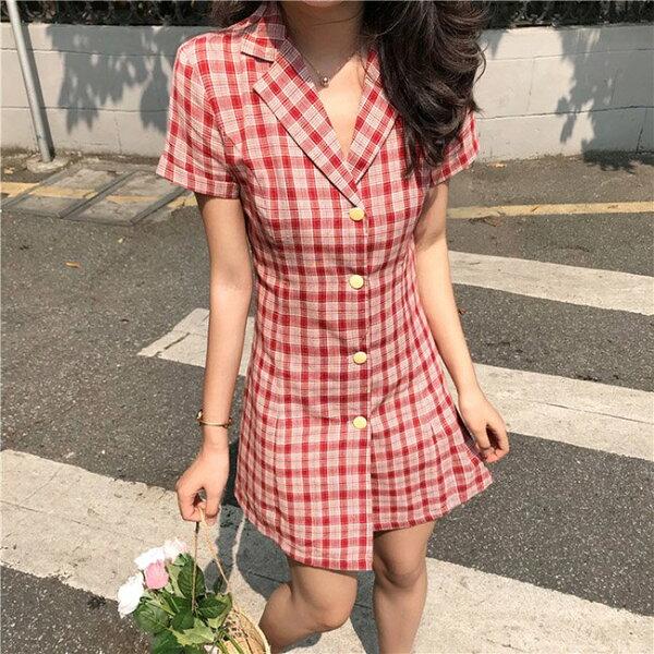 短袖洋裝格紋翻領排釦修身長版衫短袖洋裝連身裙【MY8328】BOBI0705