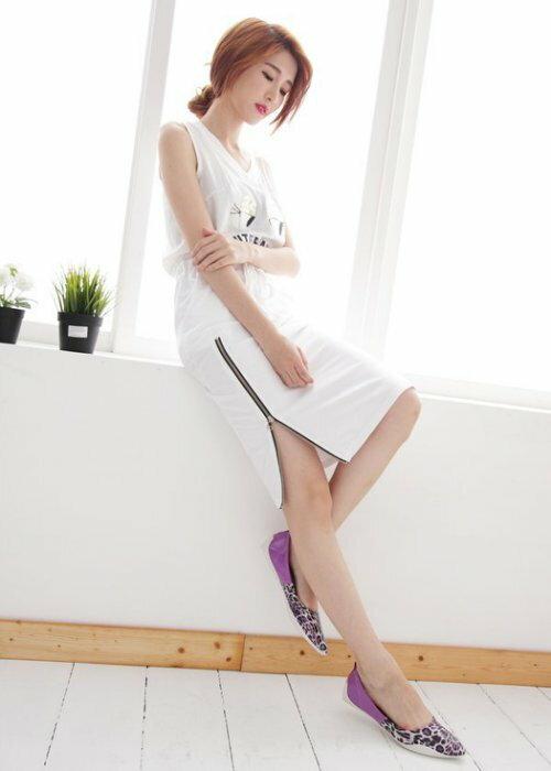Pyf ? 韓版獨家訂製 超舒適軟膠底 漆皮紫色拼接豹紋 尖頭平底鞋 寬楦 40-42大尺碼女鞋