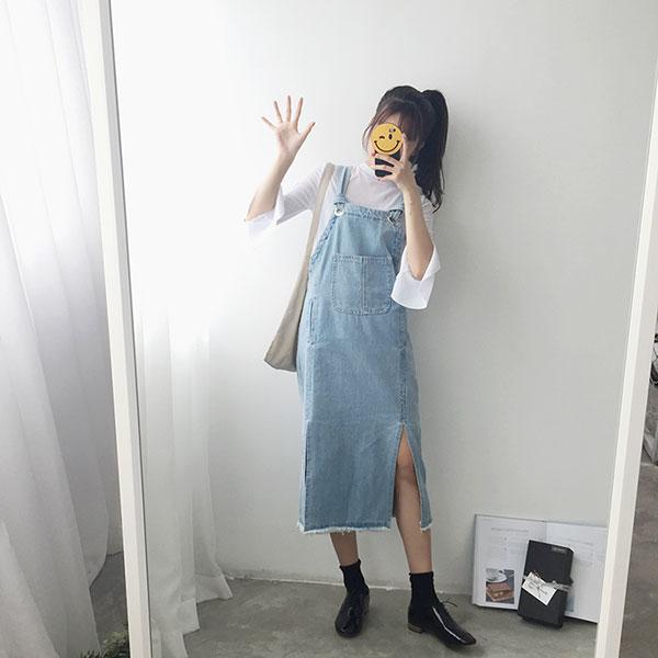 淺色牛仔吊帶裙刷鬚刷破開岔開衩背心裙牛仔裙洋裝顯瘦韓ANNAS.