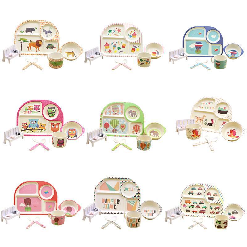 兒童餐具套裝竹纖維碗盤卡通圖案寶寶碗禮品