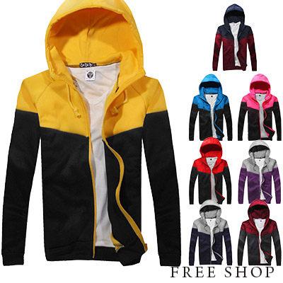 Free Shop ~QMDM0501~日韓街頭潮流百搭素面 接色厚刷毛保暖棉質連帽外套‧